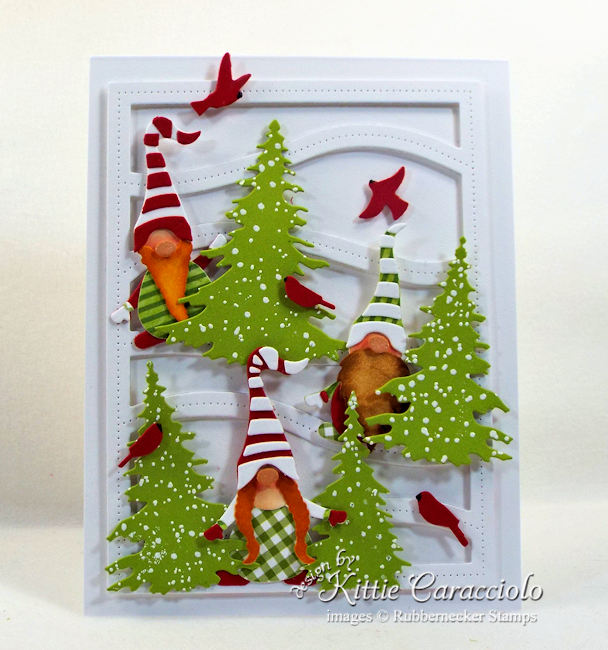 Come see how I made this snowy Christmas gnome card.