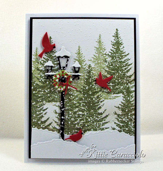 Come see how I made this snowy lamp post Christmas card.