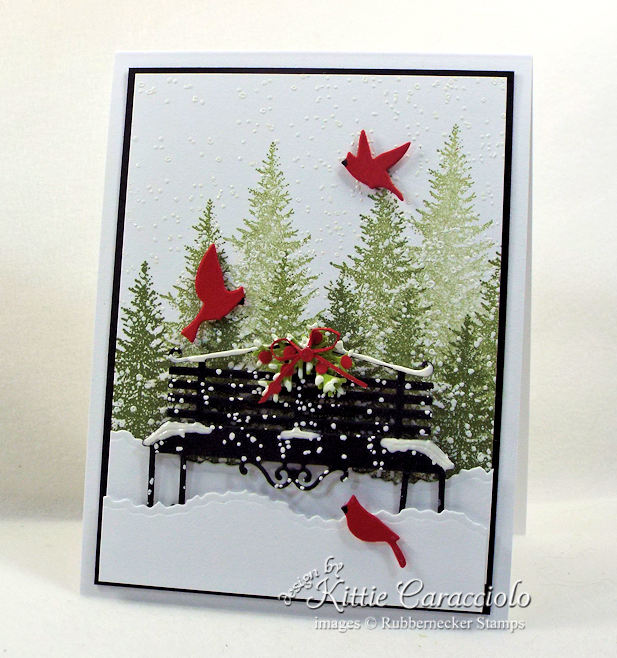 Come see how I made this snowy park bench card.