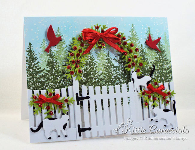 Come see how I made this snowy whimsical Christmas card with cats and garden arbor.