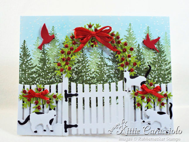 Come see how I made this sweet whimsical Christmas card with cats and garden arbor.