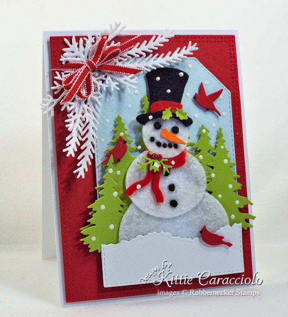 Click through to see how some felt scraps added a ton of texture to this adorable snowman card!