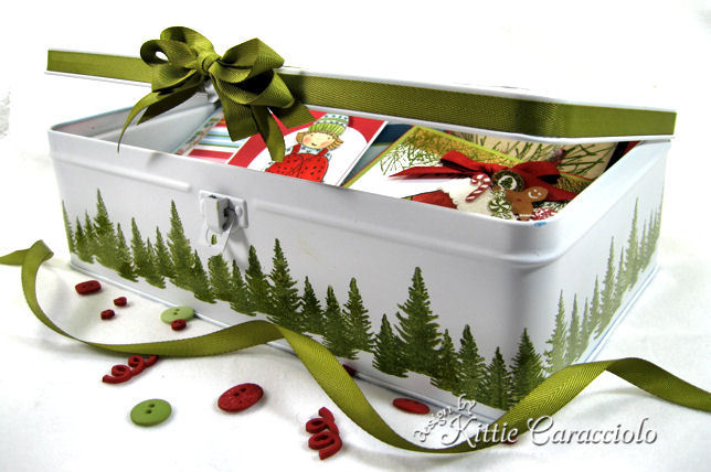 Make a custom greeting card storage box by repurposing and old tin and stuff you have around your crafting space!