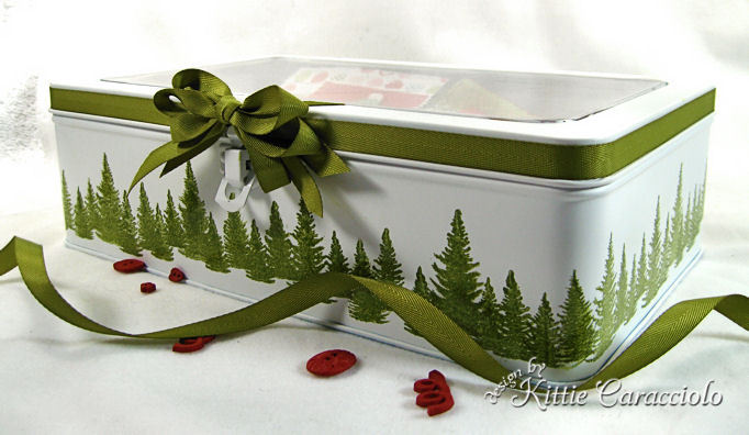 Come see how I made this greeting card storage box from an old tin and some paint!