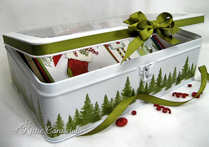 You too can make this pretty greeting card storage box using old containers, paint and some stamps!