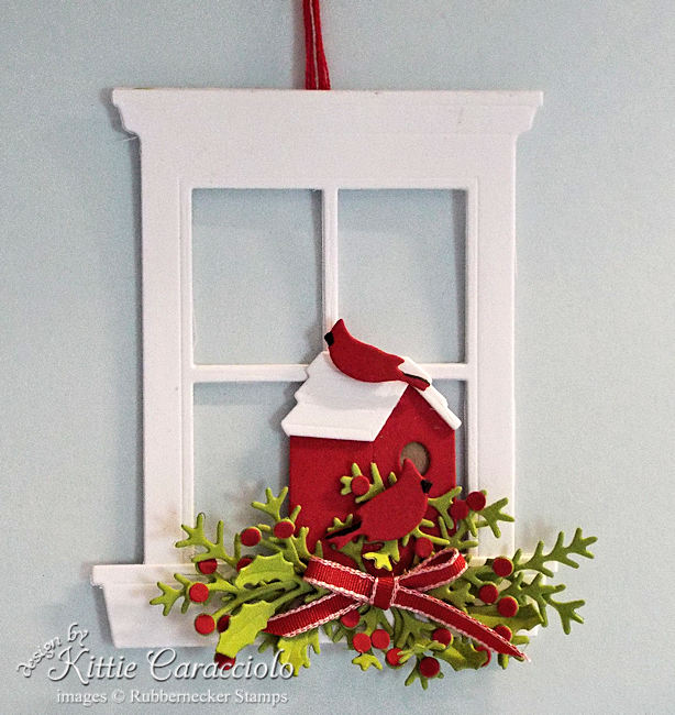 Click thru to see this unique handmade Christmas ornament with cardinals and birdhouse.