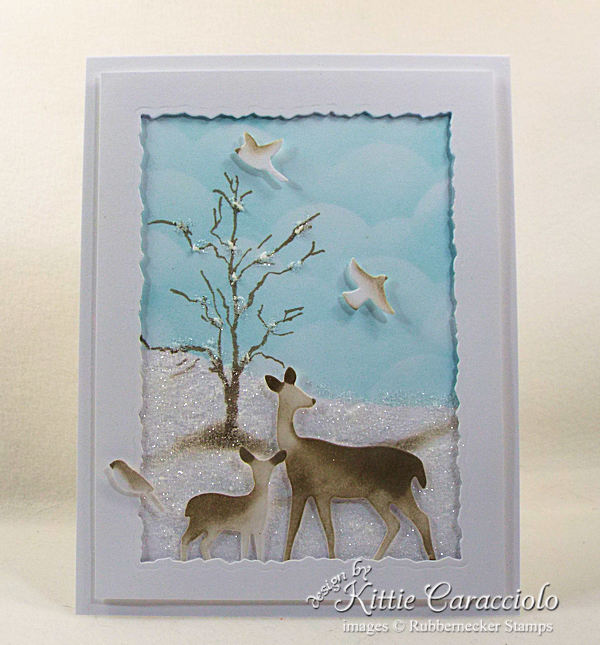 Wildlife Christmas cards are so peaceful and represent our wish for the holiday season. Click thru to see how I made this beautiful sparkly scene.