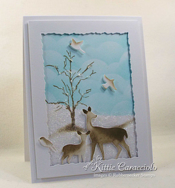 Wildlife Christmas cards are so peaceful and represent our wish for the holiday season. Click thru to see how I made this pretty sparkly scene.