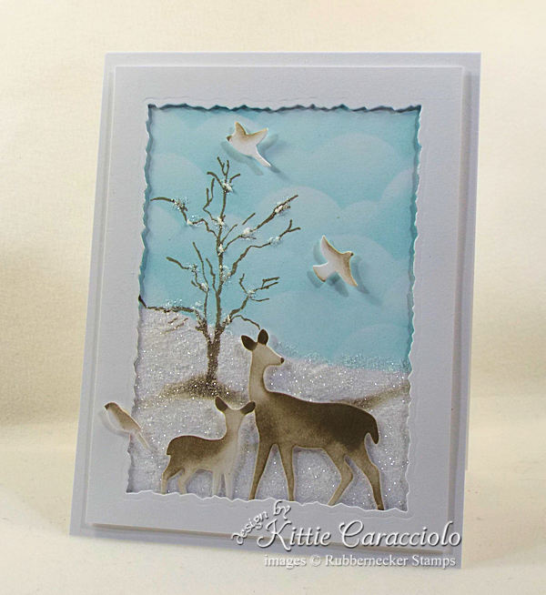 Snowy wildlife Christmas cards are so peaceful and represent our wish for the holiday season. Click thru to see how I made this beautiful sparkly scene.