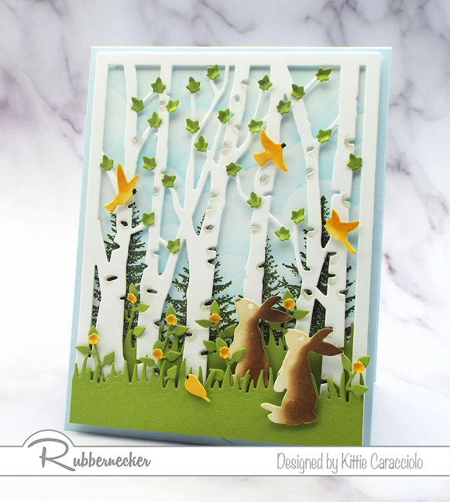 Come check out my birch tree die cut card, complete with happy little bunnies!