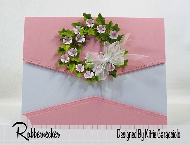 KC Rubbernecker 5162-02D Large Ivy 2 centerI love creating a mini green wreath with pretty flowers on a clean and simple card background. Click thru to see how I made this pretty wreath.
