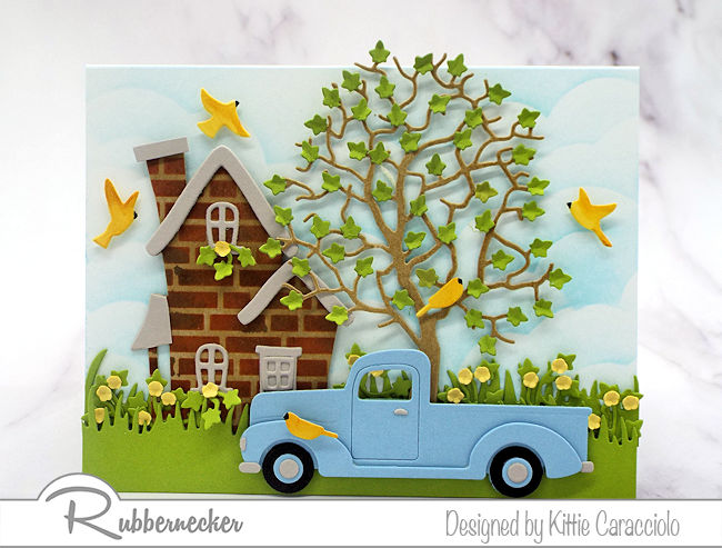 I love to use dies cuts to create a colorful house and truck scene card.  Click thru to see all the details of how I made this colorful homey scene.