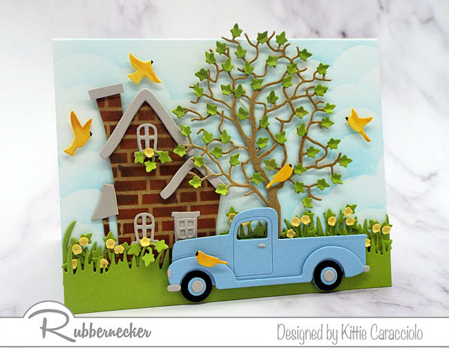 I love to use dies cuts to create a cozy house and truck scene card. Click thru to see all the details of how I made this colorful homey scene.