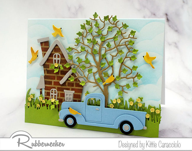 I love to use dies cuts to create a house and truck scene card. Click thru to see all the details of how I made this colorful homey scene.