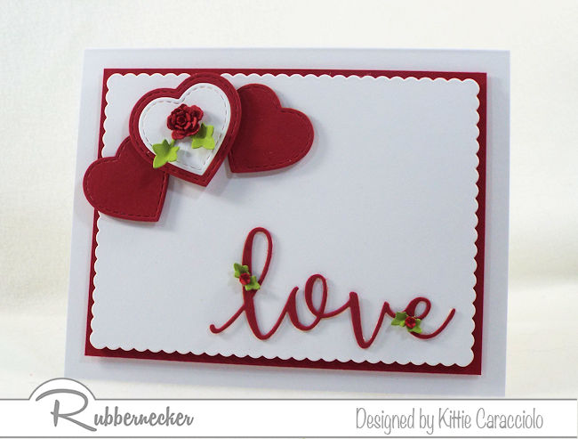 I love the simplity of this red and white hearts and love Valentine card. Click thru to see how I layered the hearts and popped up the sentiment.