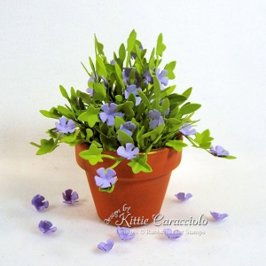 Mini Terracotta Pot with Paper Flowers and Foliage