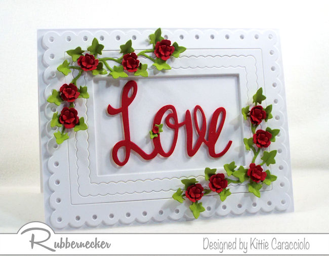 I love to use red, white and green to create a love sentiment card with flowers and ivy for Valentines. Click thru to see how I made this elegant card.