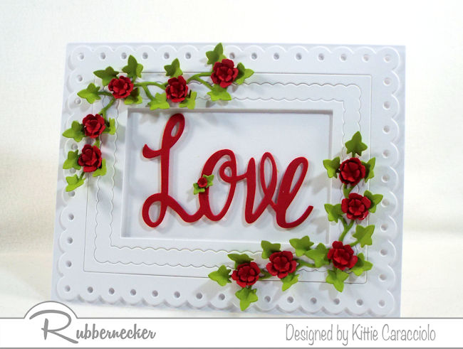 It's always fun to use red, white and green to create a love sentiment card with flowers and ivy for Valentines. Click thru to see how I made this elegant card.