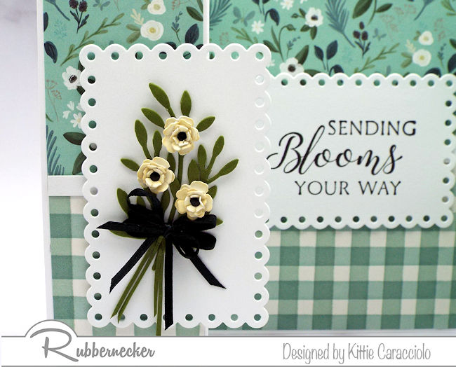 This sweet double shutter card is adorned with a simple paper flower bouquet - click through to see how easy it is to make!