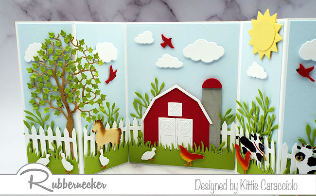 This cuper cute farm scene card was actually easy to make using all the dies from Rubbernecker - come check it out!