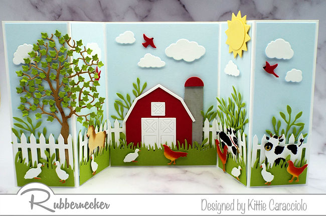 Click through to check out my farm scene card spread over a longer than normal base to fit in all the cuteness!
