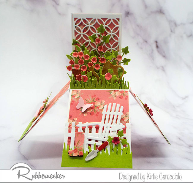 Making a pop up flower box card is so much fun and makes a perfect gift for any occasion. Click thru to see how I made this pretty garden chair card.