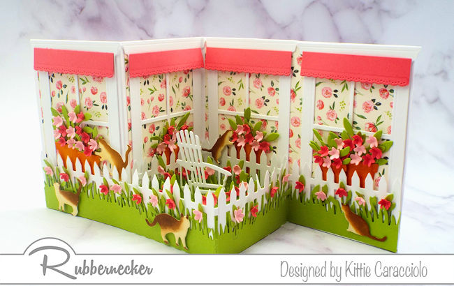 I love the spring feel of this z fold window card with the brightly colored paper, flowers and awnings. Click thru to see the step by step instructions.