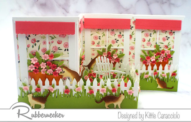 I love the spring look of this z fold window card with the brightly colored paper, flowers and awnings. Click thru to see the step by step instructions.