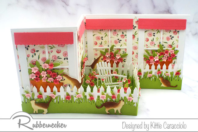 I love this spring z fold window card with the brightly colored paper, flowers and awnings. Click thru to see the step by step instructions.