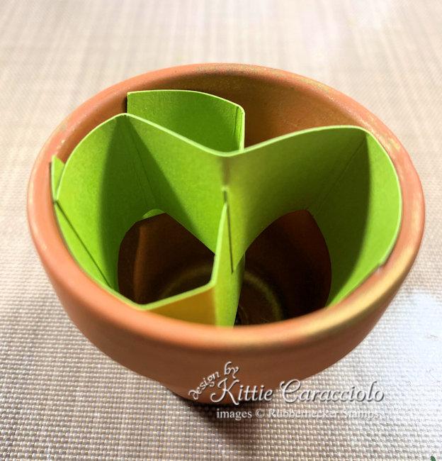 Mini terracotta pot arrangement base.