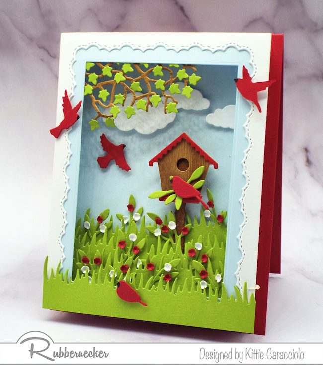 Click through to learn how to make a shadow box greeting card using some basic supplies - these from Rubbernecker!