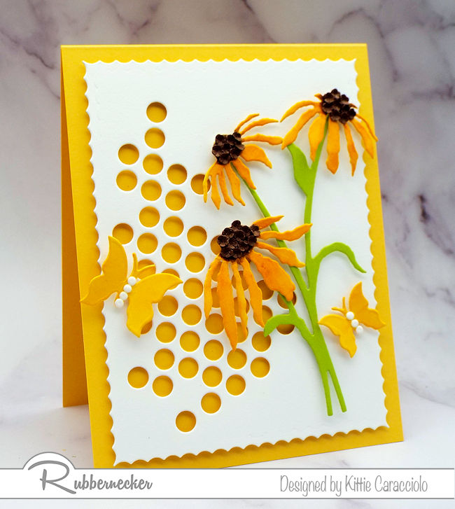 This card made with die cuts uses the same flowers from other projects but has an all new look - come see how you can do this too!