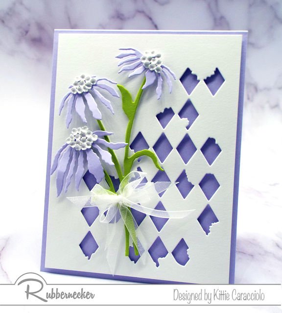 Check out one of the new die cut patterns from Rubbernecker featured on this pretty card!