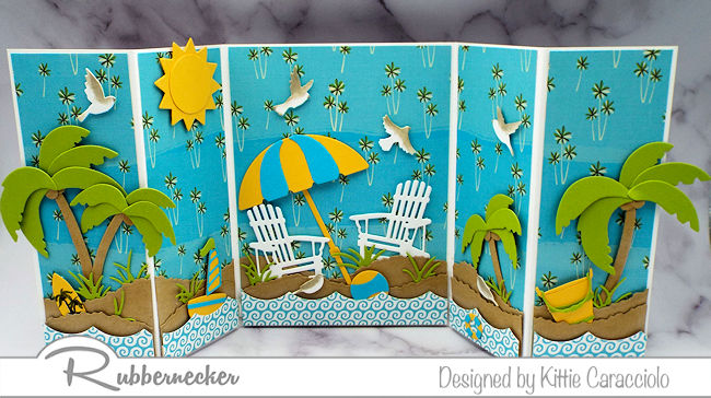 This latest of my handmade beach cards only looks complicated - click through to see how you can start with an easy base and go from there.