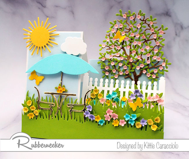 Come see how I created this cute side step card using a precut base to make it so easy!