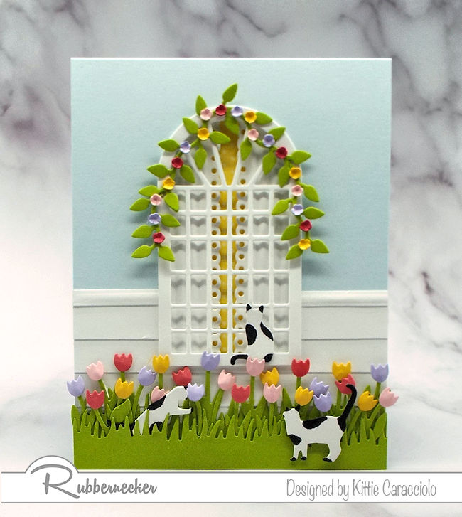 Spring flowers are popping up and the weather is beautiful.  Click thru to see how I made this pretty scene card.