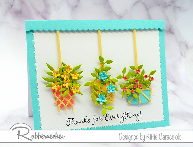 This macrame planters card is so pretty and can be used for so many different occasions. Come over to my post to see how I created the different arrangements.