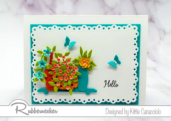 The new Rubbernecker die cut flower vases creates so many wonderful cardmaking oppotunities. Click thru to see how I cam up with this card design.