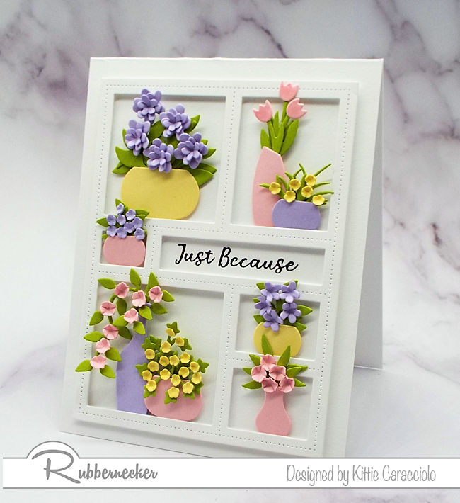 It is fun to decorate a window frame die with lots of vases and flowers. Come over to my blog and check out how I made this pretty card.