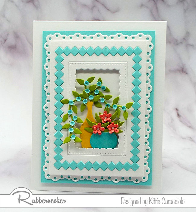 Layered die cut frames add so much interest to the main focal image on card fronts. Click on the picture to see how I created this lovely card.