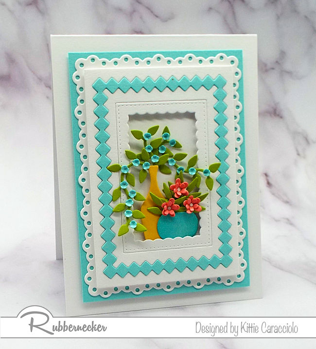 Layered die cut frames add so much interest to the main focal image on card fronts. Come on over to my blog to see how I created this lovely card.