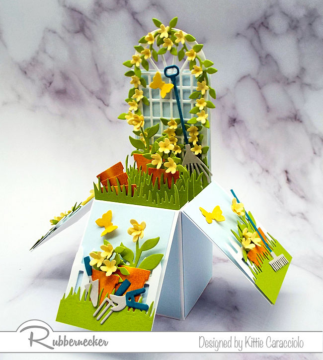 Making this flower garden pop up box was lots of fun and will be a treasured gift for the recipient.  Click thru to see how I made this sweet card.