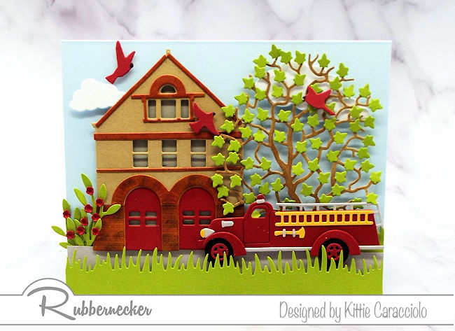 Wouldn't the fireman in your family love to receive this fun vintage fire truck and fire house card.  Click thru to see all the details about this card.