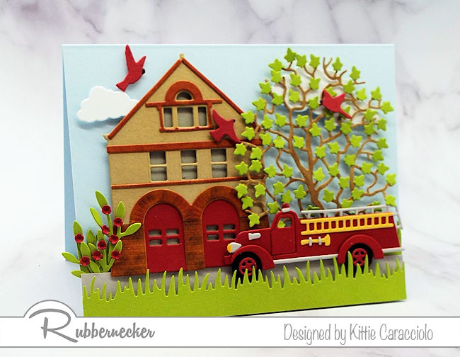 Do you have a fireman in your family that would love a card made using this vintage fire truck and fire house? Click thru to see how I made this fun card.