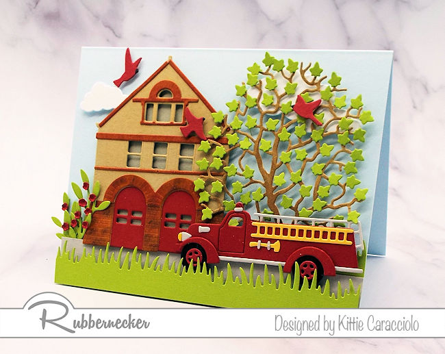 This vintage fire truck and fire house card would be the perfect thing for the firemen in your family.  Click thru to see how I made this card.