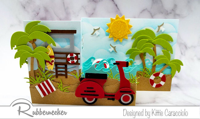 Making this die cut scooter z fold card was lots of fun to put together. Come over and check out how I made this fun beach card.