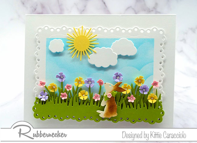 I love making Easter bunny scene cards with lots of flowrs this time of year. Click on the picture to come over and see more details.