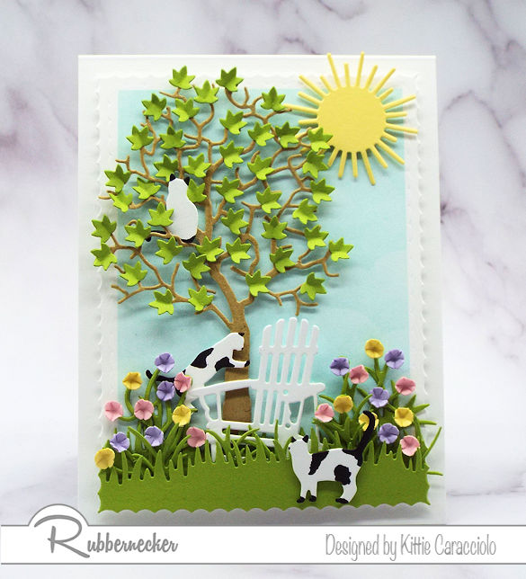 Click on the photo to come over and see how fun and easy it is to create a scene with die cuts on a card front with lots of dimension.