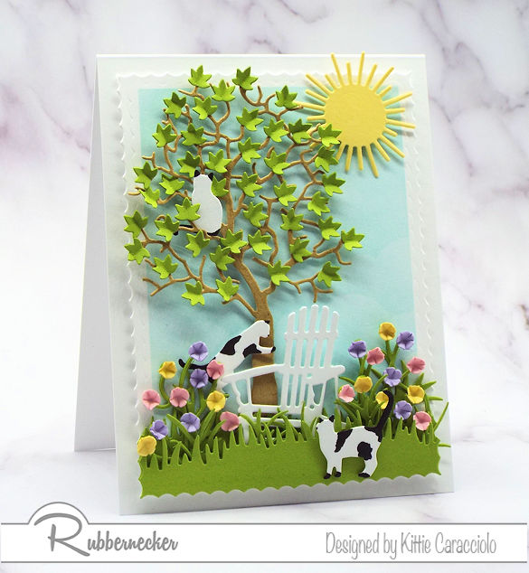 Click on the picture to come over and see how fun and easy it is to create a scene with die cuts on a card front with lots of dimension.