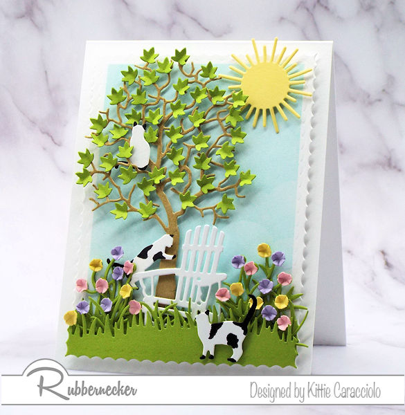Click through to come over and see how fun and easy it is to create a scene with die cuts on a card front with lots of dimension.